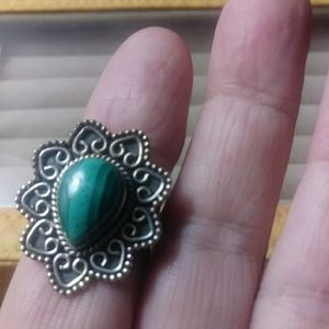 African malachite silver ring.